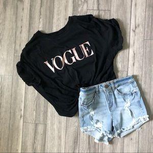 VOGUE Rose Gold Graphic Shirt Black NEW